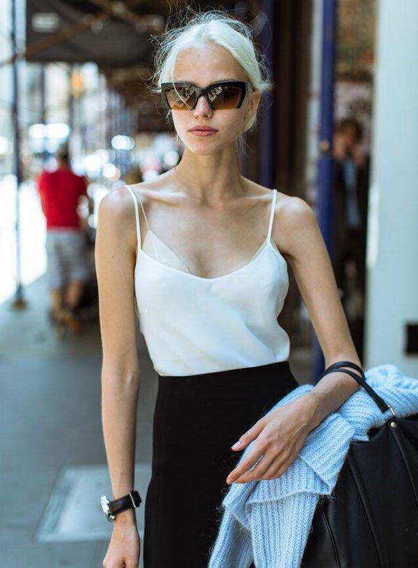 Sasha Luss white top black pants