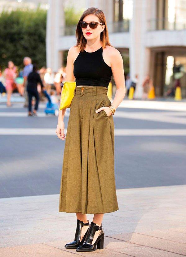street style calca culotte com bota como usar looks cropped
