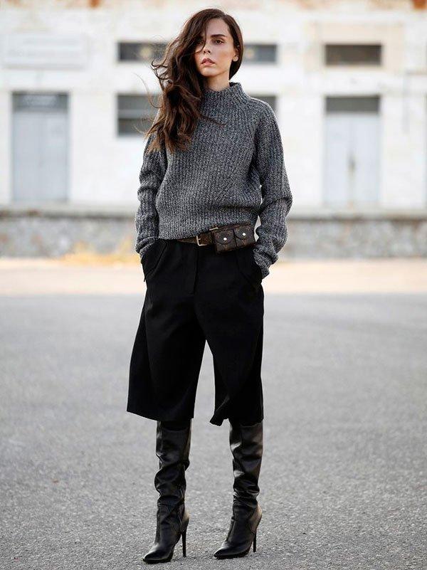 street style calça culotte com bota como usar looks gola alta cano longo