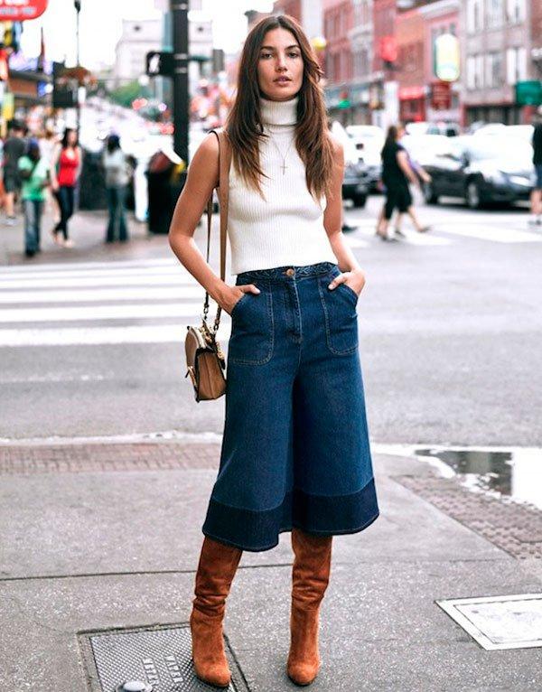 street style calca culotte com bota como usar looks jeans camisa com gola