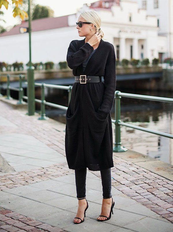 all black long cardigan street style