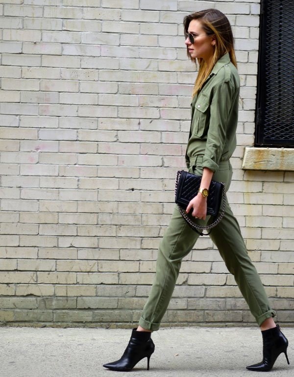 all green black boots street style