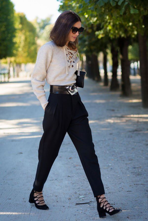 beige lace up sweater street style