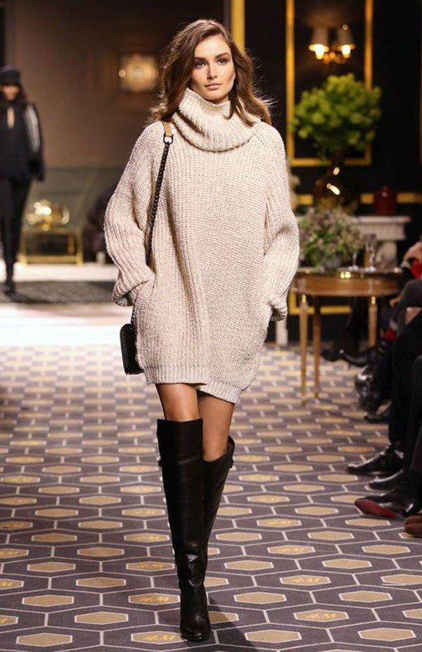 beige turtleneck sweater dress over the knee street style