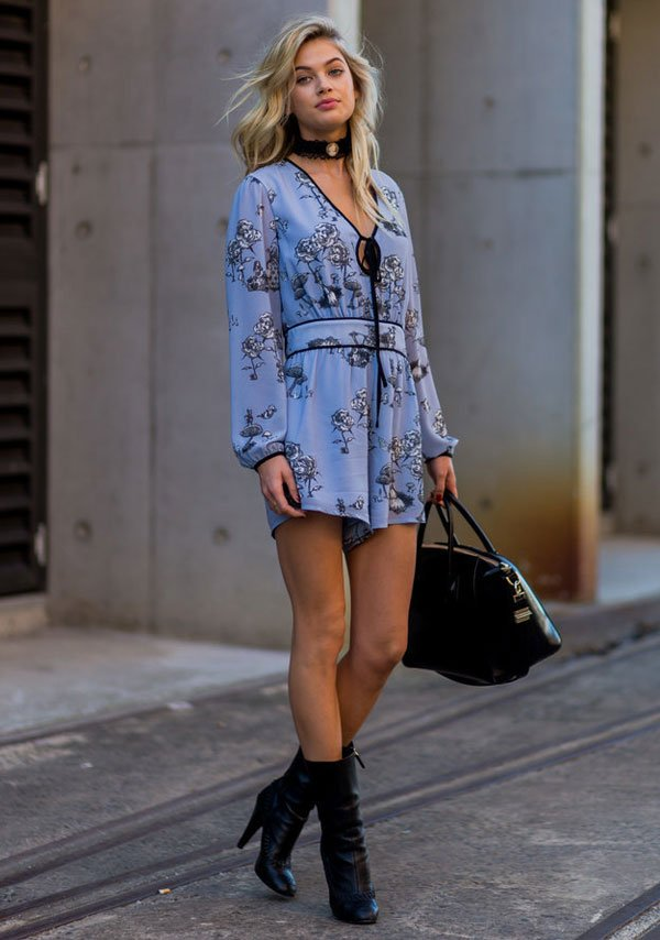 blue dress black boots and choker street style