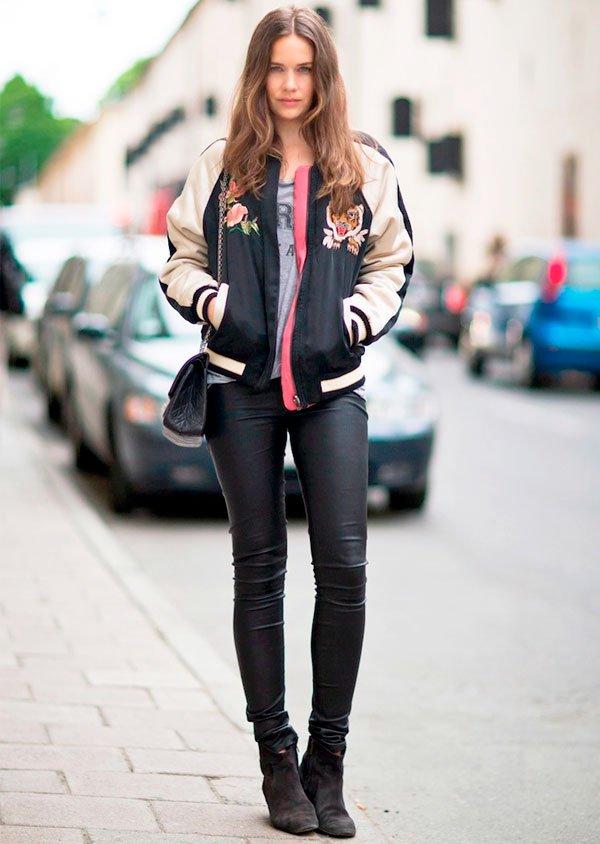 bomber jacket black street style