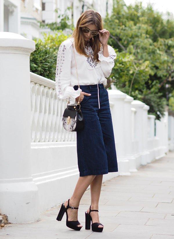 denim culotte white blouse street style