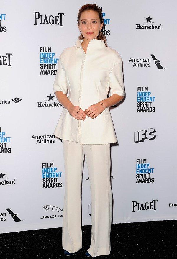 elizabeth olsen com look all white