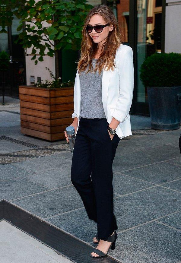 elizabeth olsen veste look clássico