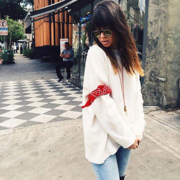 fla cavasotti instagram denim pants over sweater street style