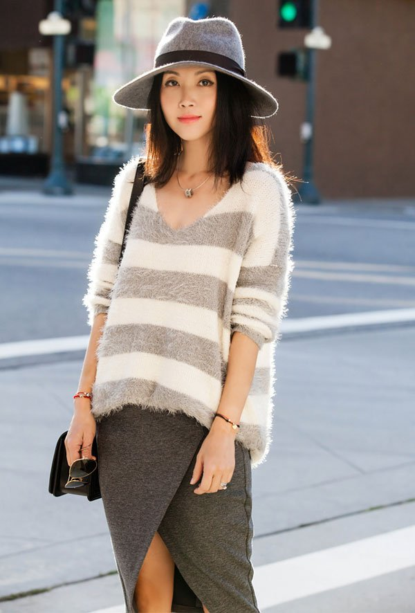 grey skirt striped sweater street style