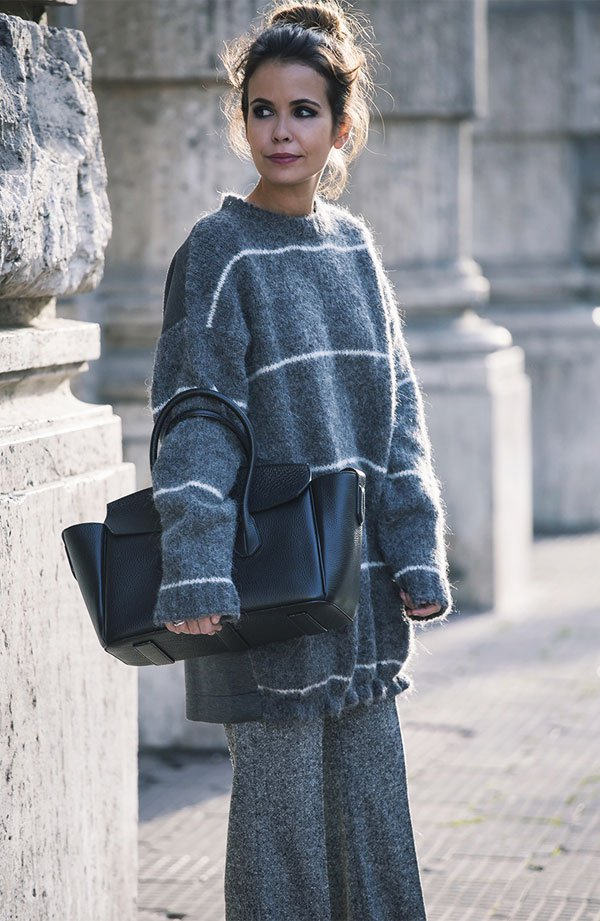 grey sweater and skirt street style