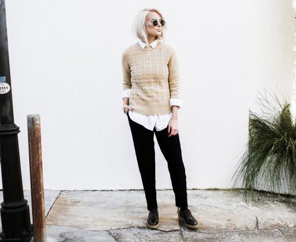 look black pants white shirt beige sweater