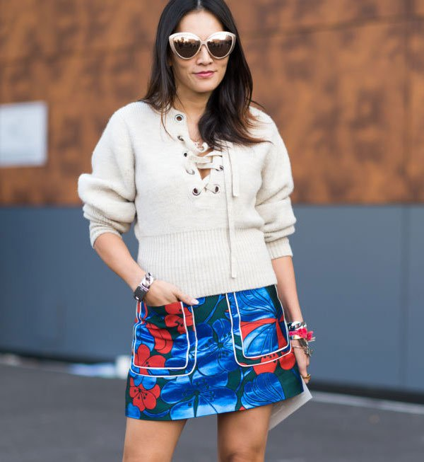 look lace front top floral skirt