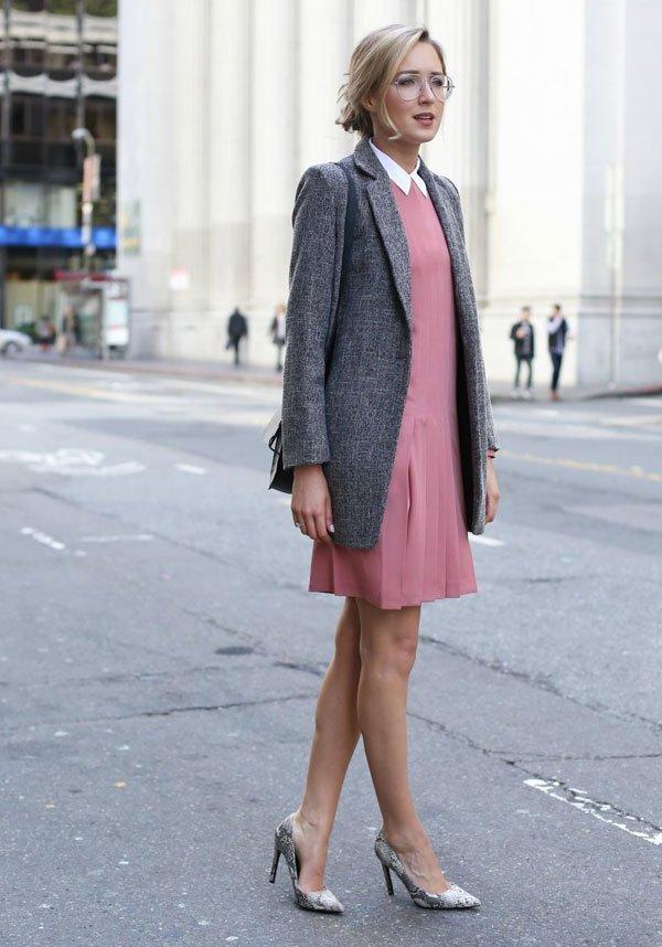 look pink dress grey coat