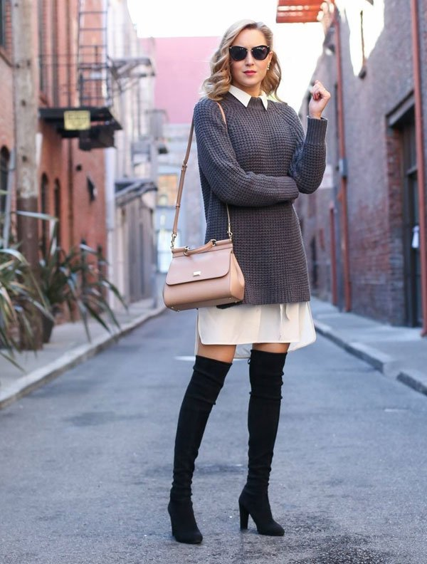 look shirt dress sweater over the knee