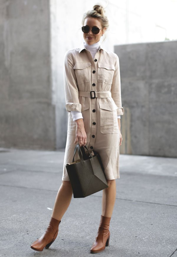 look white turtleneck beige trench coat