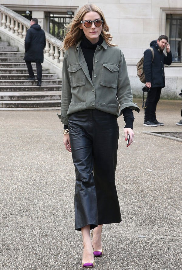 olivia palermo leather culotte military green coat