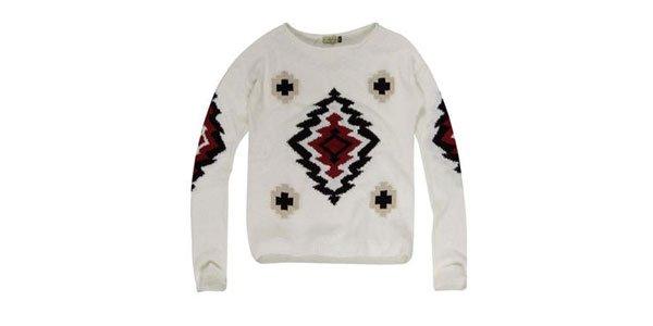 suéter tricot desenho geometrico khelf
