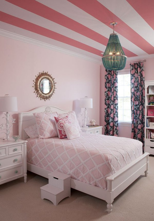 ideias de decor com papel de parede no teto listras