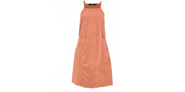 Vestido slip dress suede nude