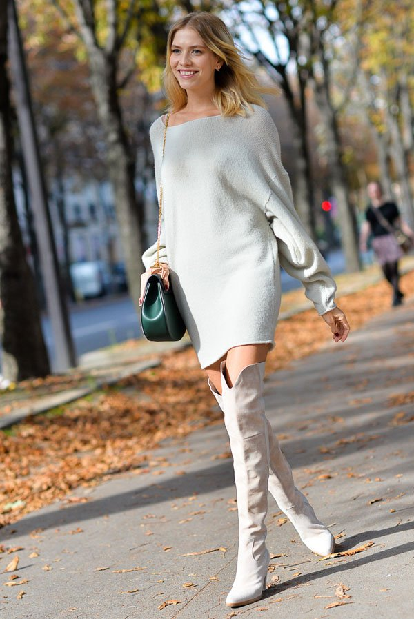 white sweater dress over the knee street style