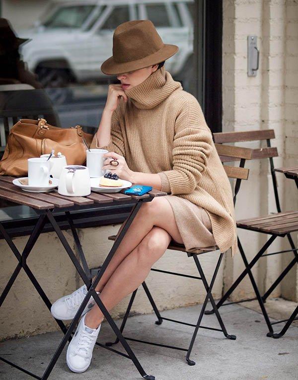 sweater dress e chapeu