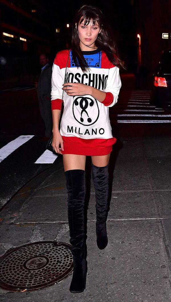 look moschino e over the knee Bella Hadid