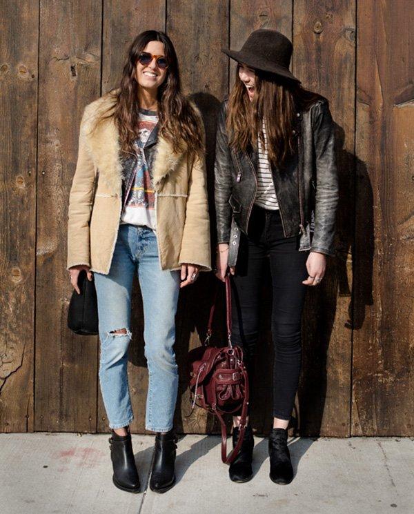 casaco couro e pele