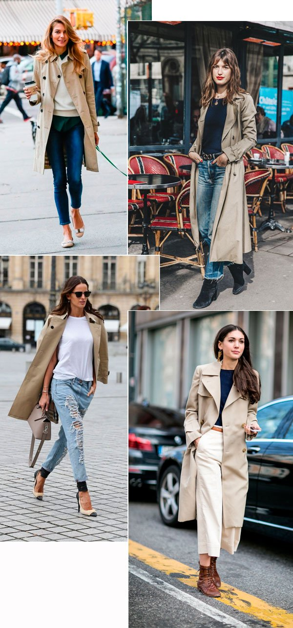 Street style look trench coat bege