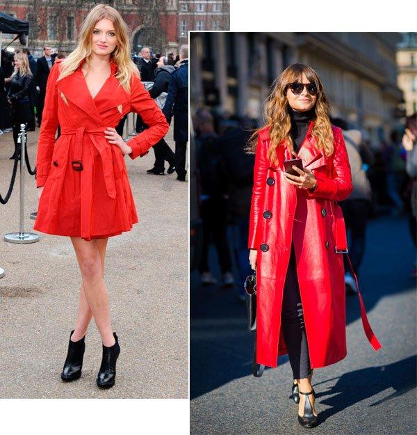 Street style look trench coat vermelho