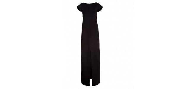 Vestido preto com fenda Lina Dellic