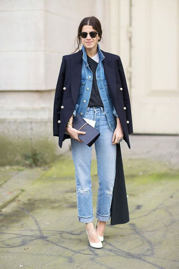 Leandra Medine jeans on jeans