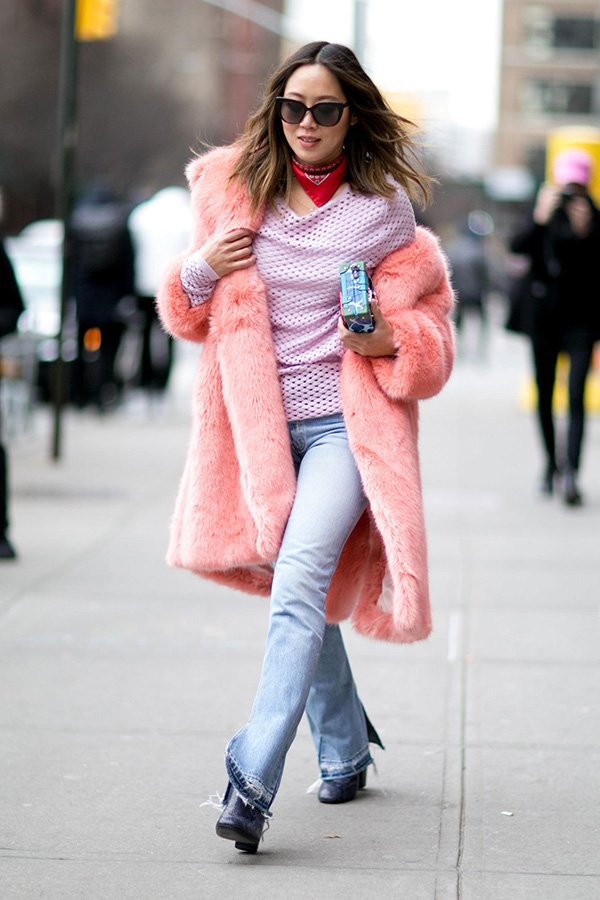 off the shoulders pink coat