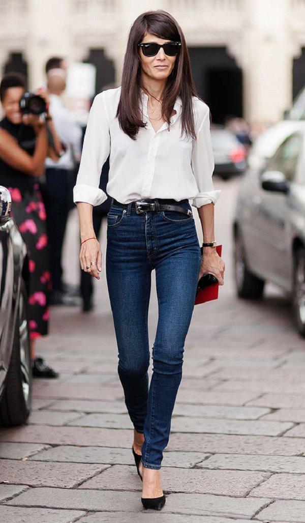 look calça jeans skinny cintura alta e camisa branca