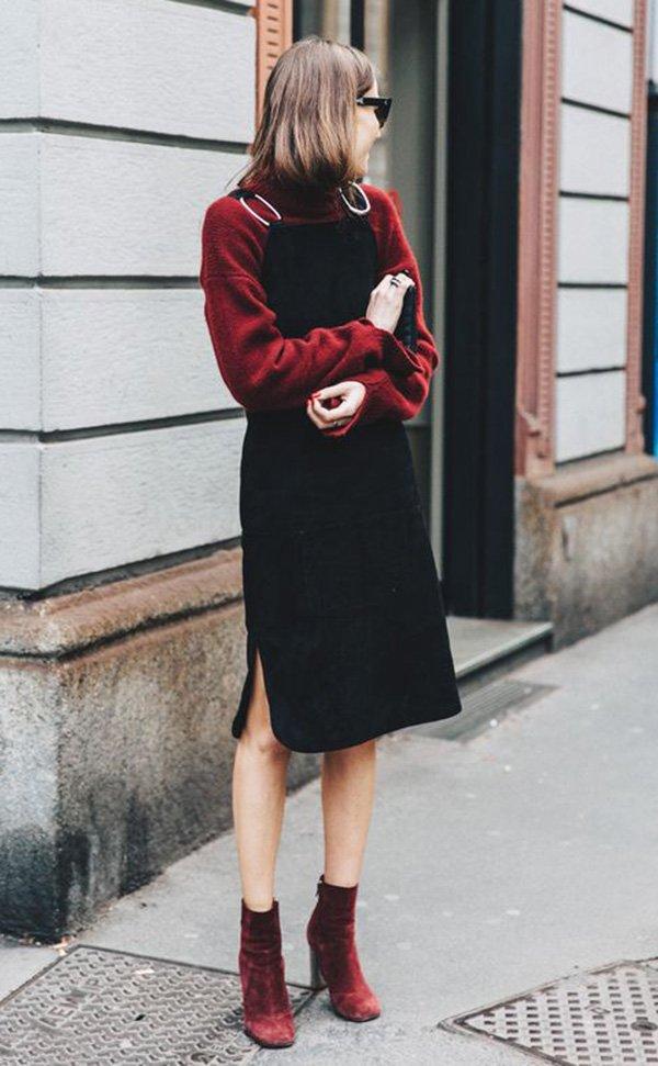 Street style look com blusa e vestido.