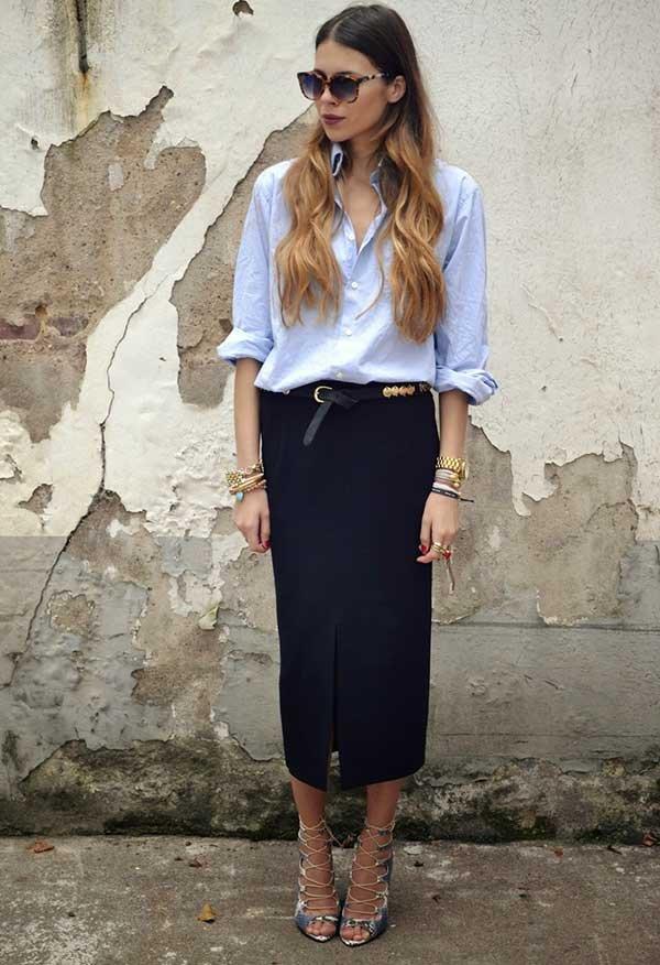 9d976acc14 Maja Wyh mostra como usar de forma estilosa camisa com saia lápis