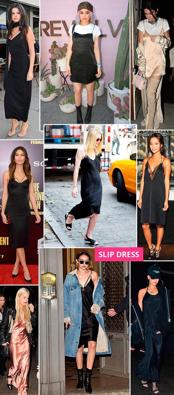 vestido slip dress é tendência e todas as celebridades estão usando!