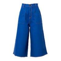 Calça pantalona cropped