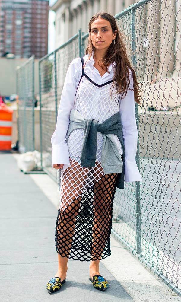 Street style look vestido tela.