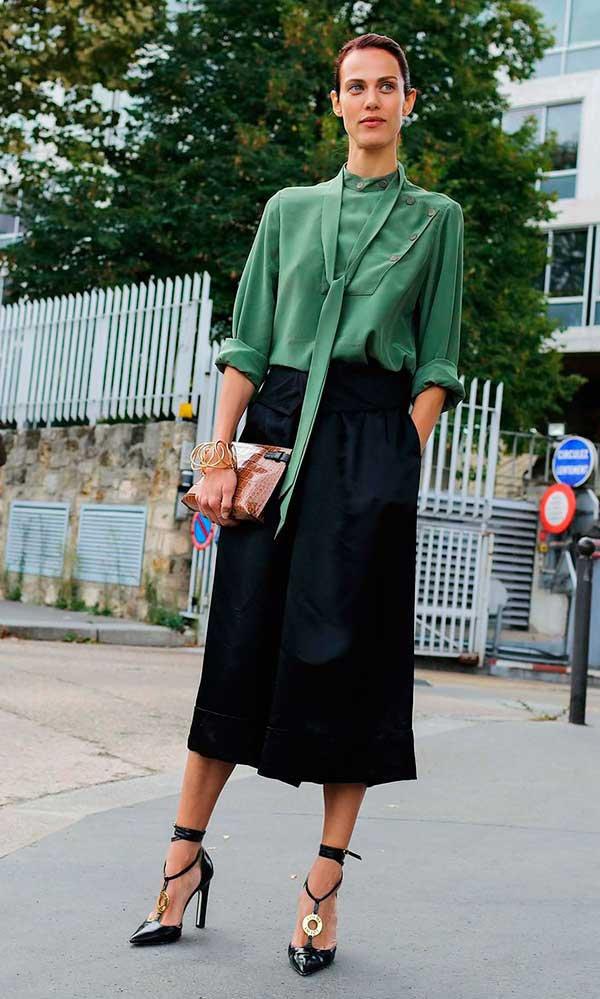 look calça culotte preta