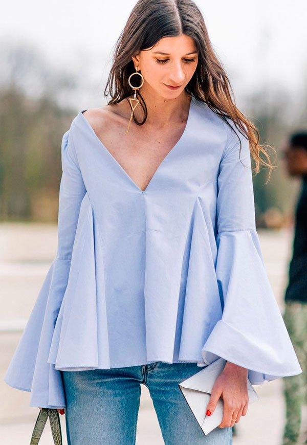 blusa manga sino azul