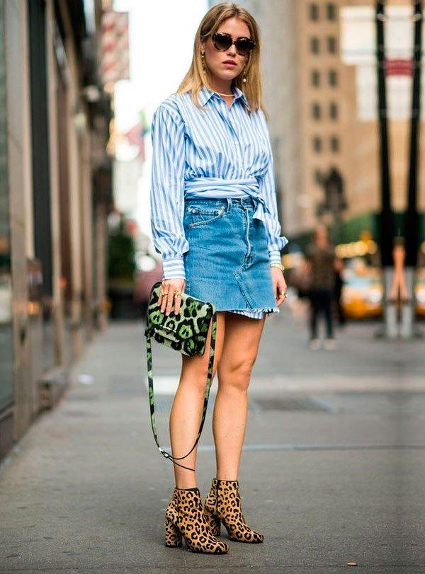 look com saia jeans para o verão