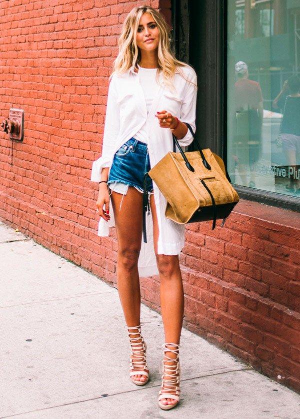 short jeans estilo sandalia amarracao