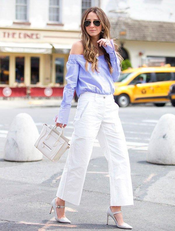 culotte branco blusa azul
