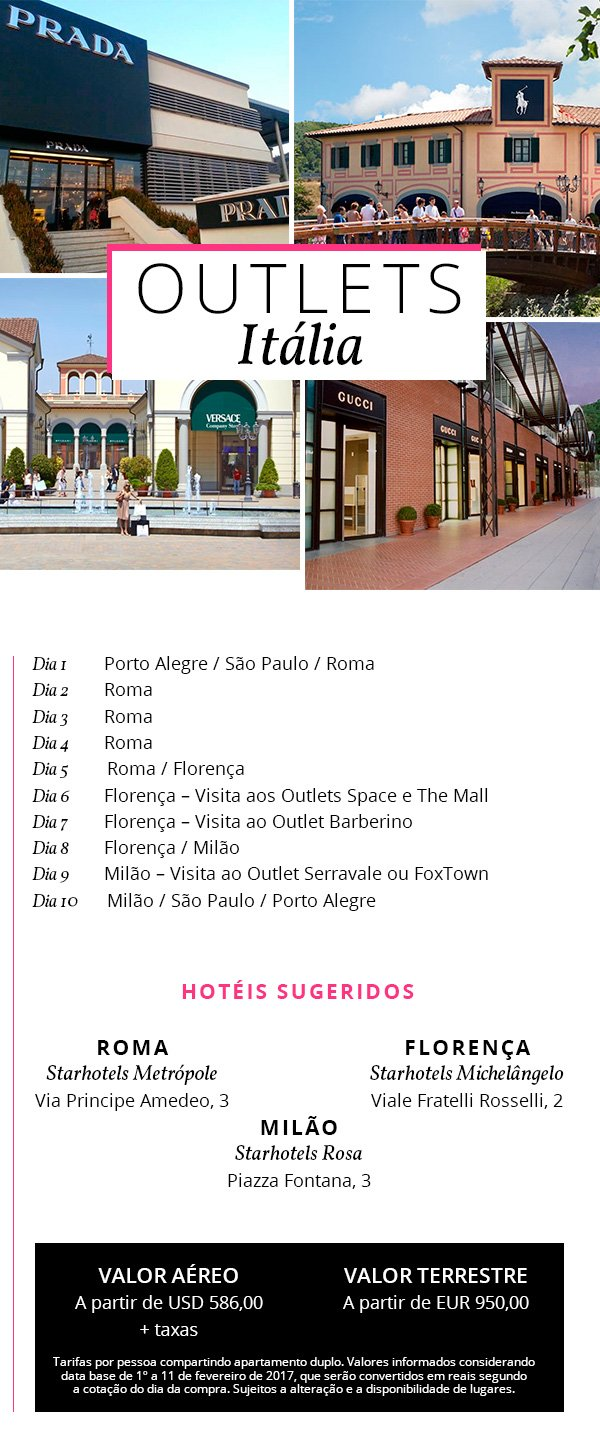 pacote viagens outlets italia