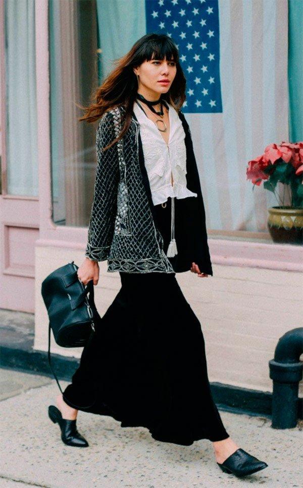 Street style look com mule.