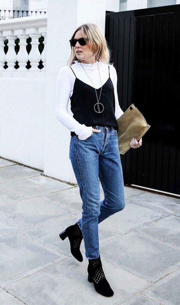 Lucy Williams faz sobreposição com top e blusa de manga longa