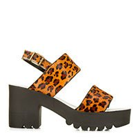 Sandália flatform de couro com pelo onca Taquilla