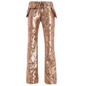 calça dourada paete